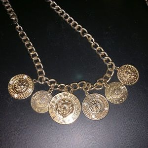 Versace inspired Medusa coin necklace